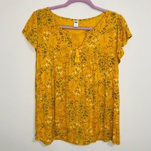 Old Navy floral v neck with tassel ties top M